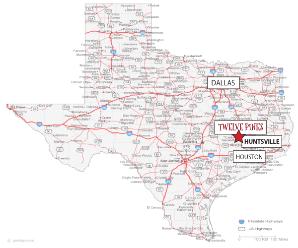 12 Pines Texas Map